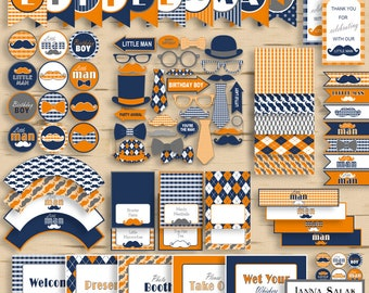 Little Man Birthday PRINTABLE Party Package Decorations Blue Orange Grey Diy INSTANT DOWNLOAD Pdf LM04