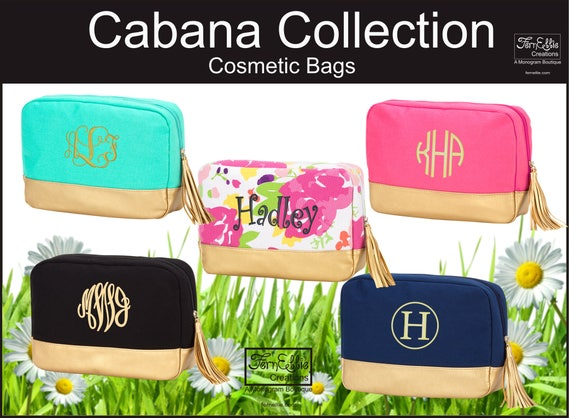 Personalized Makeup Bag, Monogrammed Makeup Bag, Bridesmaids Gift, Toiletry Bag, Cabana Collection Makeup Bag, Cosmetic Bag