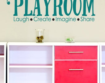 Playroom Wall Decal Quote Laugh Imagine Create Share Wall Decals Craft Room  Decor Playroom Wall Stickers