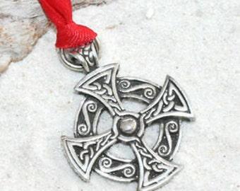 Pewter Solar Cross Celtic Druid Irish Pagan Christmas Ornament and Holiday Decoration (25B)