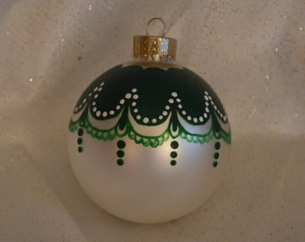 White Hand painted Christmas Ornament