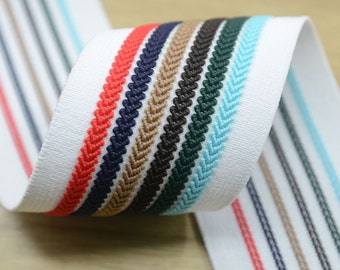 2 inch (50mm) Wide Colorful Striped Jacquard  Elastic Bands,Waistband Elastic,Sewing Elastic 22040