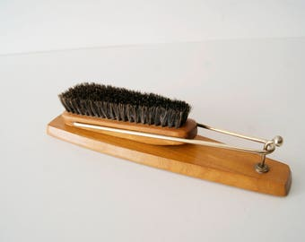 Shoe brush wood brass, clothes brush, 50s Garderobenset, lint brush, gloss brush,