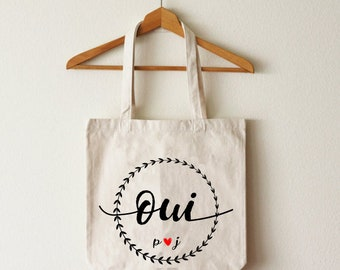 "Tote bag ""Yes"" organic cotton custom wedding"