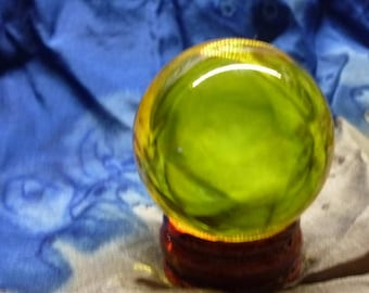 39mm crystal ball Yellow tone scrying  divination soothsayer fortune teller