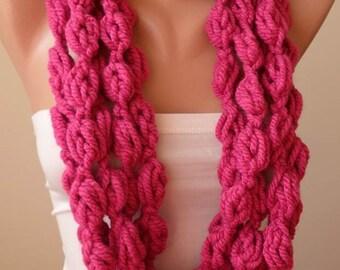 Valentine's Day Gift Dark Pink Wool Infinity Scarf  - Crochet ScarfCyber Monday
