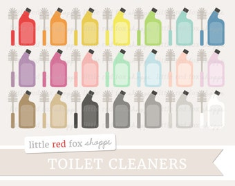 Toilet Cleaner Clipart, Toilet Bowl Cleaner Clip Art Bathroom Restroom Brush Cleaning Icon Cute Digital Graphic Design Small Commercial Use