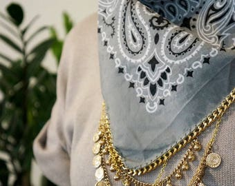 Grey Bandana Necklace with Gold Chain | festival accessories | western boho | gypsy style