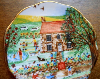 Butter Pat Plate Hand Painted Fine  Detail Vintage Shabby Chic Made in England Fine Bone China