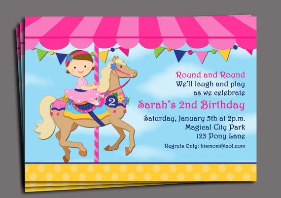 Carousel birthday invitation printable or printed with free like this item filmwisefo Gallery