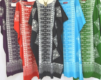 Neue MALAYA 100 % Baumwolle Kaftan Kleid Maxi Long Tunika Batik One Size Plus Strand Damen Batik erstaunlich weichen Baumwolle