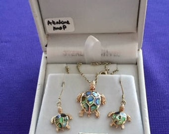 Vintage Sterling Silver & Enamel Turtle Necklace With Earrings Set. By CRISLU