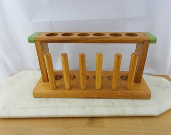 Vintage Wooden Test Tube Rack with Dryers, Test Tube Holder, Chemistry Rack, Mid century Test Tube Stand, Made in Australia