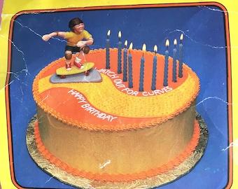 """vintage deadstock skateboarder """"skateboard stunt rider"""" cake topper"""