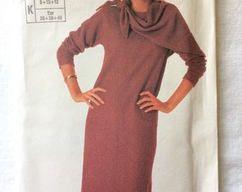 Vintage 1985 UNCUT New Simplicity 7190 Misses Size 8, 10, and 12 Easy-to-Sew Dress and Scarf Pattern