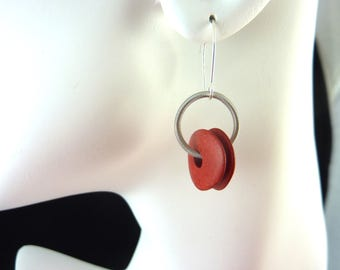 Piano wire and red ceramic earrings