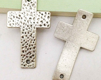 Sideways Cross Charms -5pcs Antique Silver Large Hammered Cross Bracelet Charm Pendants 29x50mm AA407-3