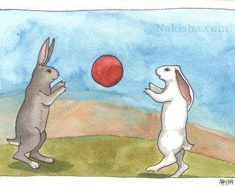 Original Watercolor Rabbit Painting - Catch