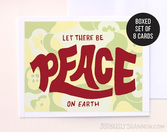 """Peace Holiday Cards Set, Christmas Card Sets, Christmas Card Pack, Xmas Cards, """"Let there be peace on Earth"""" Set of 8 A2 Greeting Cards"""