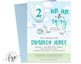Hot Air Balloon Invitation, Boys 1st Birthday Invitation, Up Up and Away Birthday Invite, Boys First Birthday Invite, 1st Birthday Boy