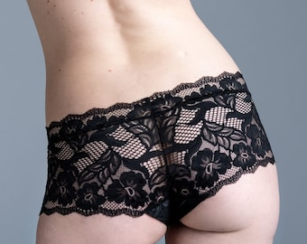 Black Lace Panties - Sheer See Through Lingerie - 'Bird of Paradise' Style Underwear - Lacy Made To Order Womens Lingerie