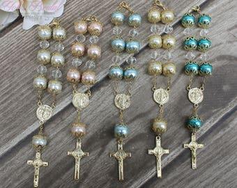 FAST SHIPPING!! 12 Pieces Gold Mini Rosary, Christening Favor, Baptism Favor, Communion Favor, Confirmation Favor, Wedding Favor, Giveaway