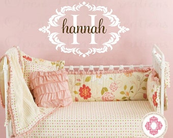 Extra Large Baby Name Wall Decal with Elegant Shabby Chic Frame - Nursery Girl Vinyl Wall Decal Monogram 22x36 FN0369