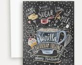 Birthday Card - Vanilla Buttercream Frosting - Birthday Cake Card - Hand Lettered Card - Baking Recipe - Chalkboard Card - Chalk Art