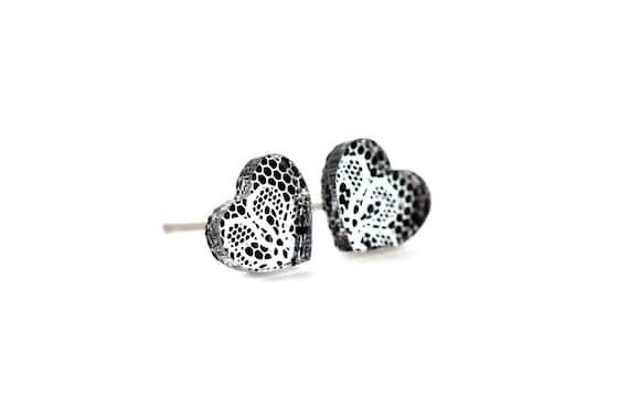 Heart studs with lace pattern - tiny heart earrings - romantic mini jewelry - lasercut acrylic mirror - hypoallergenic surgical steel posts