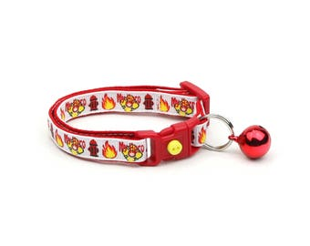 Firefighter Collar - Fire Fighter My Hero - Kitten or Large Size - Breakaway Cat Collar