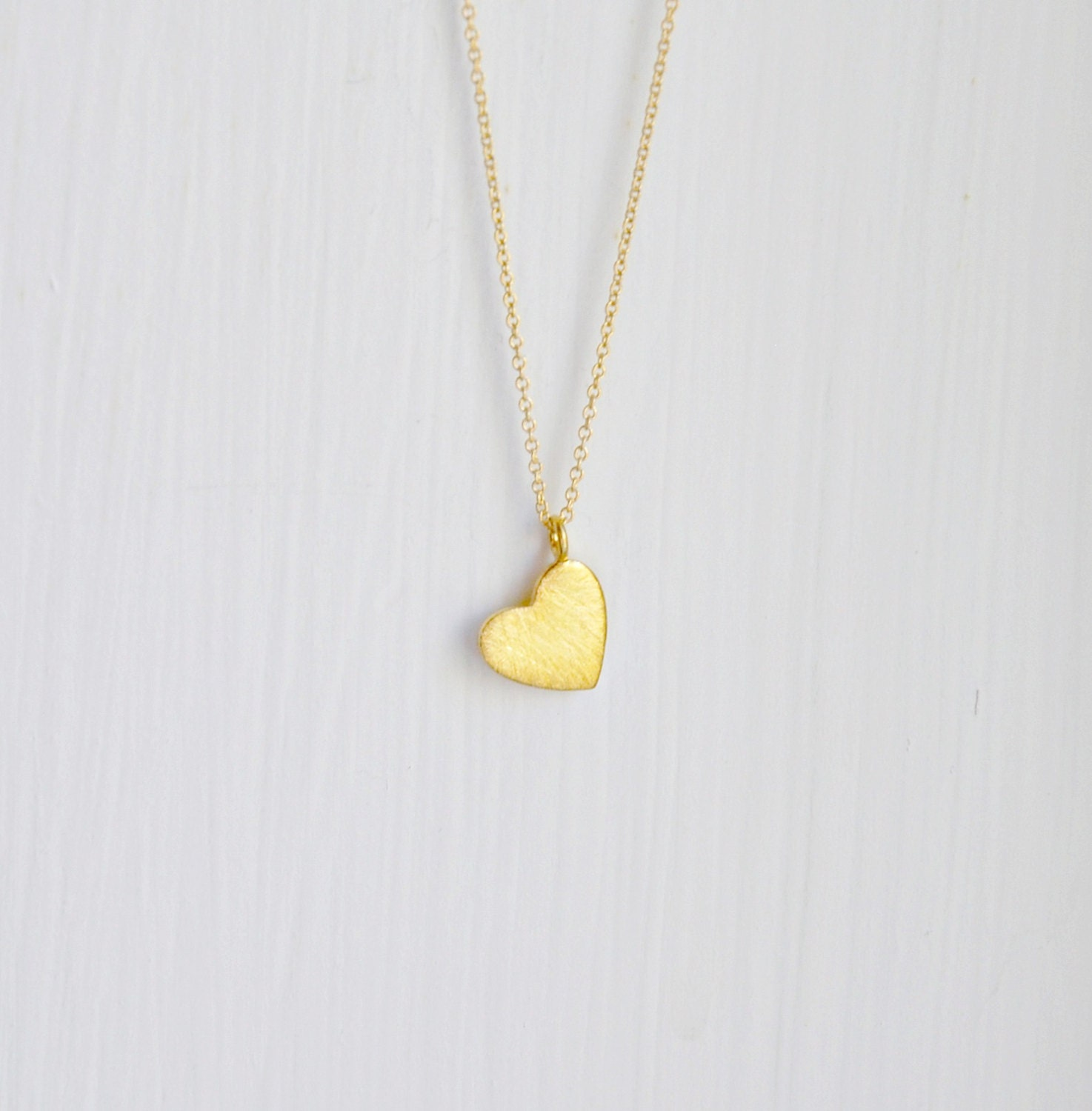 gold necklace pin vermeil brushed charm pendant heart flat