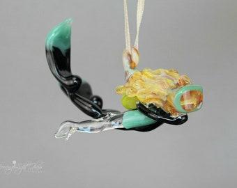 Swimming Scuba Girl - Blown Glass -  Hanging Art Ornament Sculpture - Teal & Black