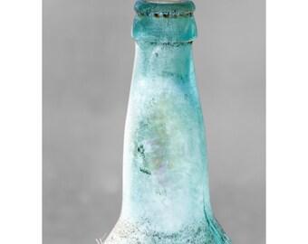 Aqua Bottle Fine Art Photography Minimal Wall Art Large 24x36 Iridescent vintage cloudy glass bottle quirky home art Aqua aged dusty style