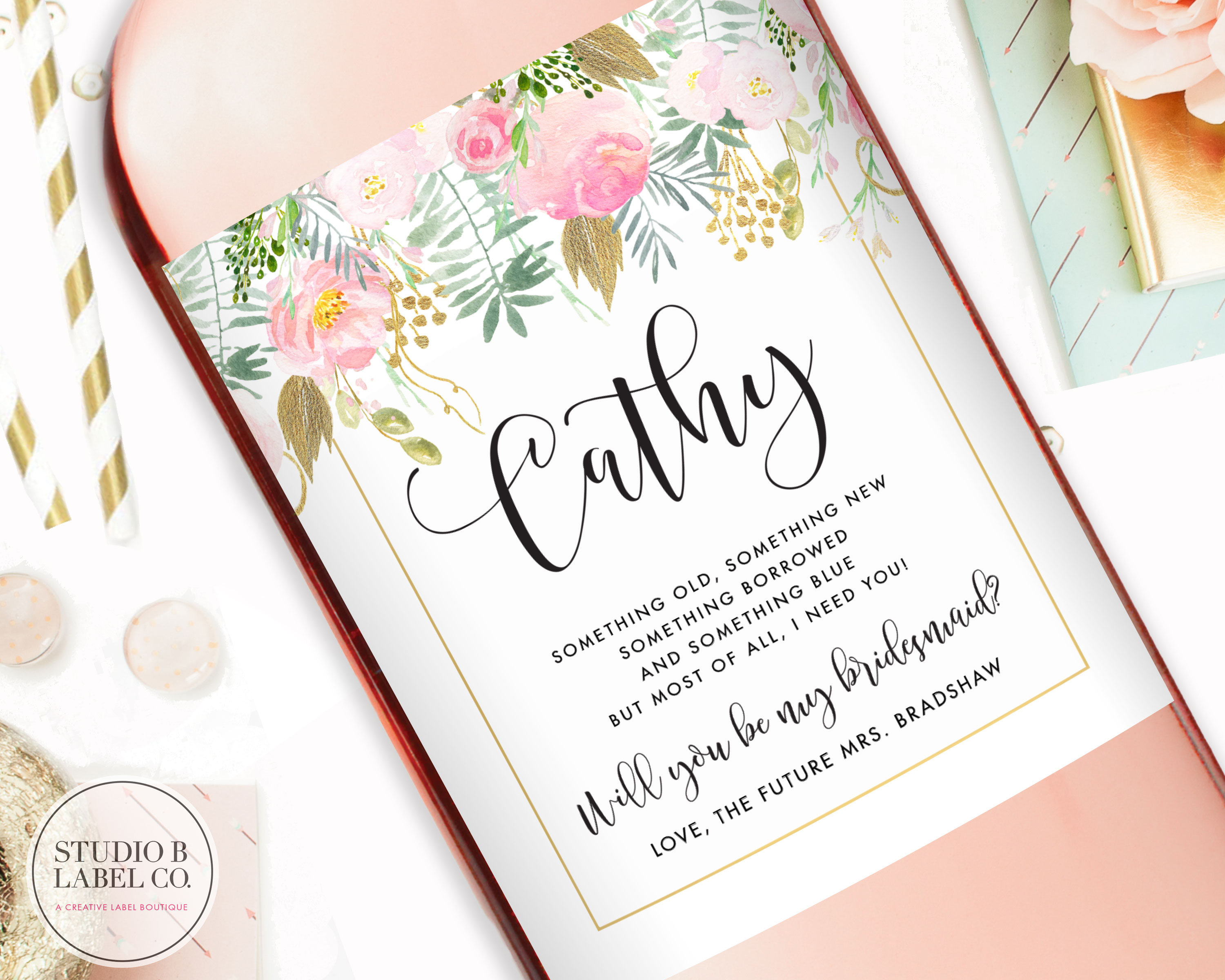 Will You Be My Bridesmaid Wine Labels Watercolor Bridesmaid