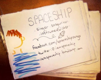 "75 custom 2.5"" x 3"" hand torn hand made business cards"