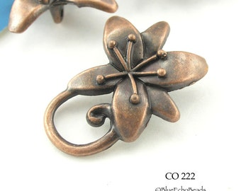 29mm Copper Flower Toggle Antiqued Copper Flower Clasp (CO 222) 3 sets BlueEchoBeads