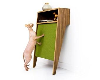 "Mid Century Modern Cat Scratcher | Modern Cat Furniture | MCM Walnut Console Table | Changeable Scratch Pad  ""Cat Console"""