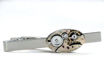 Steampunk Vintage Eterna Watch Movement Tie Bar Alligator Clip