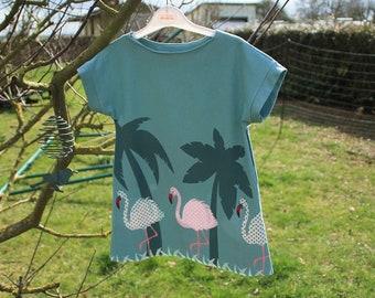 Oeko-Tek jersey with short sleeves, pink flamingos pattern, size 4 dress