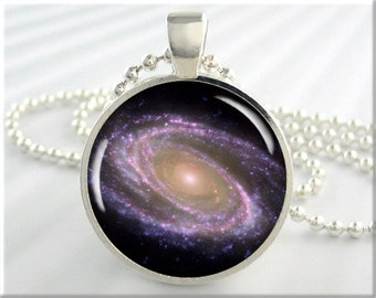 Space Galaxy Pendant, The Messier Galaxy, Hubble Telescope Picture, Resin Space Charm, Resin Pendant, Picture Pendant, Round Silver 310RS