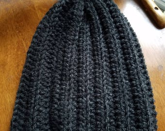 Ribbed Charcoal Gray Slouchy Beanie
