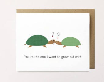 Turtle card, Cute Anniversary Card, Cute Turtle Card, Anniversary card for her, Anniversary card for him, I love you card, Growing old card