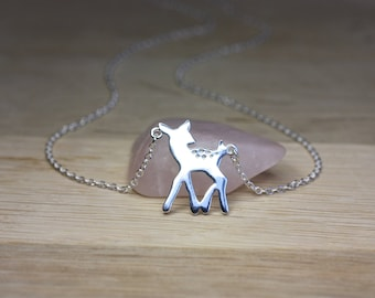 Silver Deer Necklace, Sterling silver Fawn Necklace