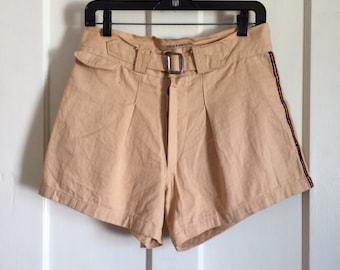 Vintage 1930's HBT Cotton Button Fly Mens Shorts size 32 Buckle front