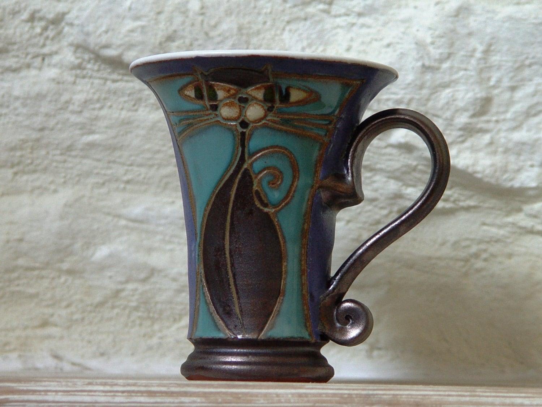 Coffee Mug Handmade Cat Mug Ceramic Mug Clay Mug Pottery