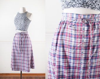 70s Wrap Skirt, Cotton Skirt, Wrap Around Skirt, 70s Style Skirt, Boho Skirt, Hippie Skirt, Plaid Skirt, Knee Length Skirt, 80s Skirt