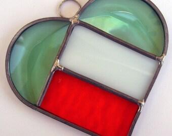 Irish Flag Heart Suncatcher, St Patricks Day, Stained Glass Suncatcher, St Patricks Day Suncatcher, Stained Glass Irish Flag