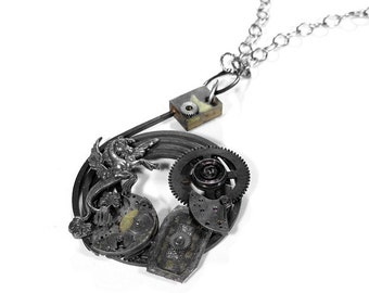 Mens Necklace, Steampunk Jewelry, Industrial Clock COIL, RaRE Gears Parts, Dial Gryphon Dragon BURNING MAN,Harley Biker PuNK - by edmdesigns