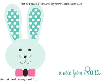 Bunny Cards Note Cards Stationery Personalized Set of 10 Cards