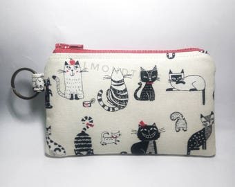 Cat, cute coin, key ring purse, keychain, zip wallet id20170206, cardholder, jogging accessory, bag organizer, card case, portefeuille